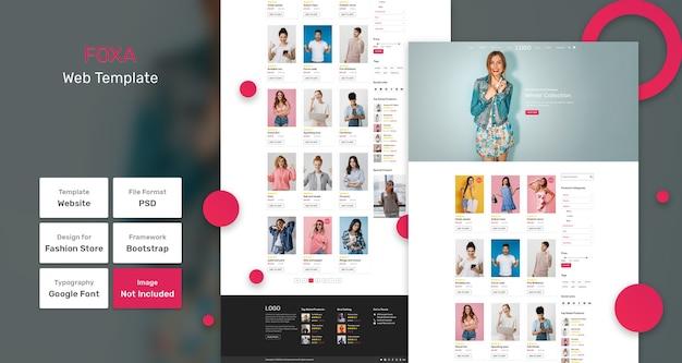 Modello web del negozio di categoria foxa Psd Premium