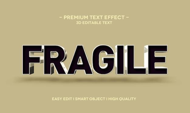 Modello di effetto stile testo 3d fragile