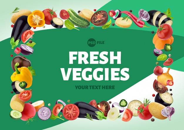 Cornice fatta di diverse verdure, erbe e spezie