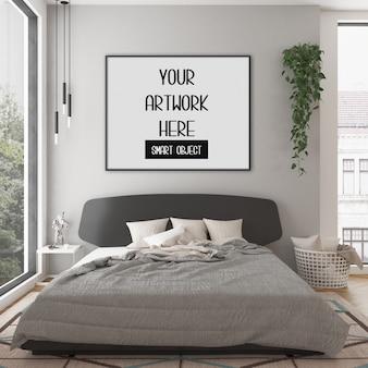 Cornice mockup, camera da letto con cornice orizzontale nera, interni scandinavi