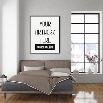 Mockup cornice, camera da letto con cornice verticale nera, interni scandinavi
