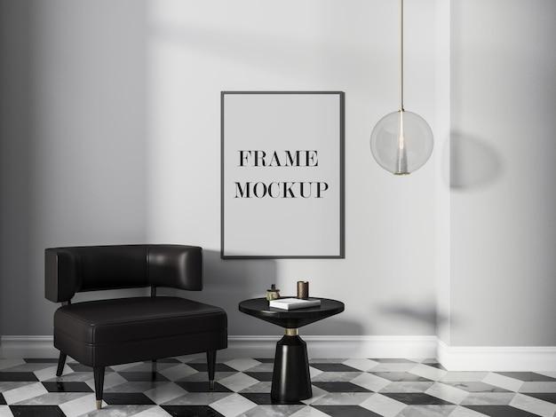 Mockup di cornice in interni moderni retrò in bianco e nero