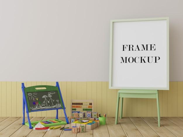 Mockup di cornice nella stanza dei bambini con i giocattoli