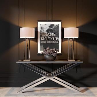 Mockup di cornice in interior design scuro