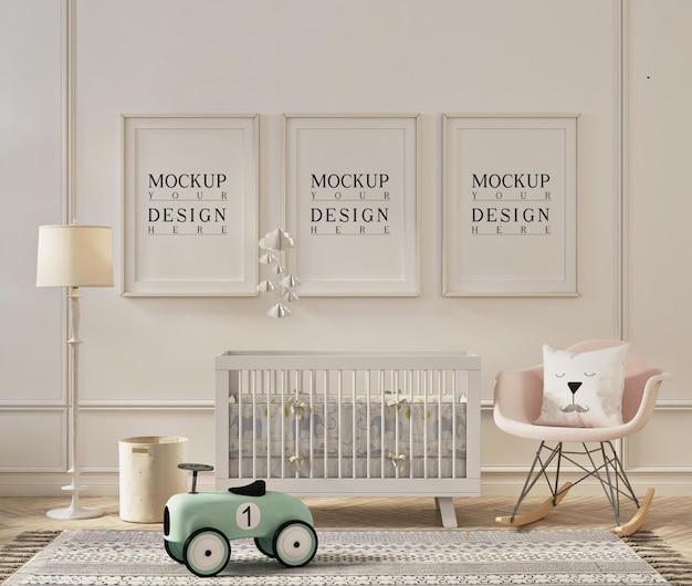 Design mockup del telaio nella graziosa stanza della scuola materna