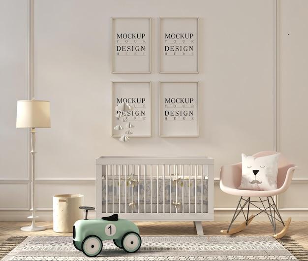 Design mockup del telaio nella moderna stanza della scuola materna