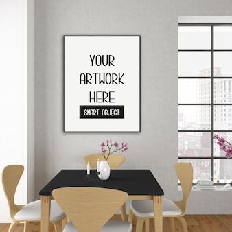 Mockup cornice, sala da pranzo con cornice verticale nera, interni scandinavi