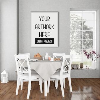 Cornice mockup, sala da pranzo con cornice verticale bianca, interno rustico