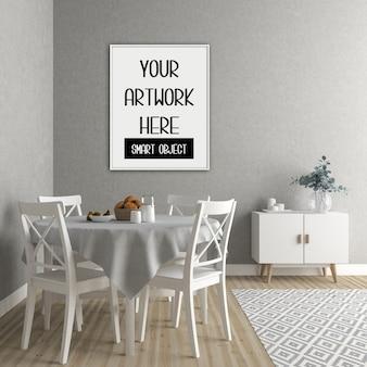 Cornice mockup, sala da pranzo con cornice verticale bianca, interni scandinavi