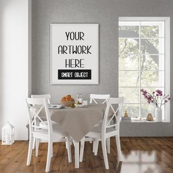 Cornice mockup, sala da pranzo con cornice verticale bianca, interni vintage