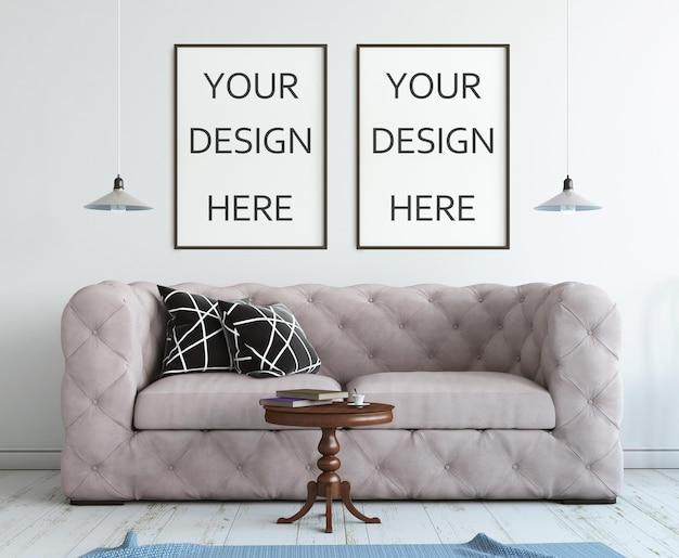 Cornice mockup interni in stile rendering 3d