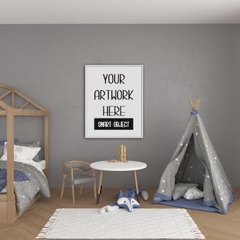 Mockup cornice, camera per bambini con cornice verticale bianca, interni scandinavi