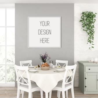 Cornice mockup, cucina con cornice quadrata bianca, interni rustici