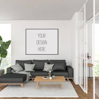 Mockup di cornice in soggiorno con cornice orizzontale nera