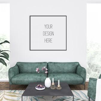 Mockup di cornice in soggiorno con cornice quadrata nera