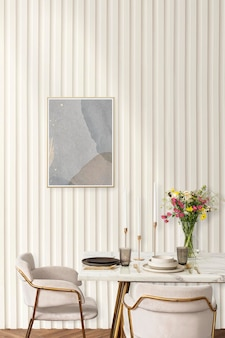Cornice mockup psd e tavolo da pranzo in una moderna sala da pranzo estetica boho chic