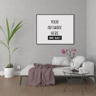 Cornice mockup sul muro della stanza