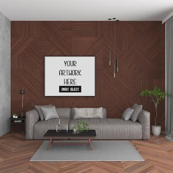 Cornice mockup, stanza con cornice orizzontale nera, interni scandinavi