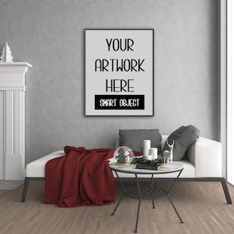 Mockup di cornice, stanza con cornice verticale nera, interno di natale