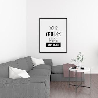 Cornice mockup, stanza con cornice verticale nera, interni scandinavi