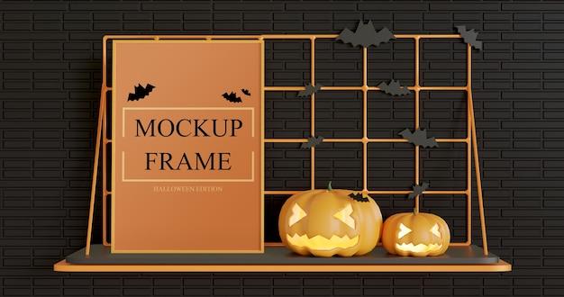 Mockup di cornice in piedi sul tavolo a muro, edizione di halloween