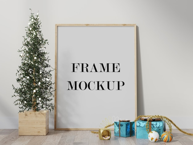 Mockup di telaio circondato da decorazioni natalizie 3d rendering