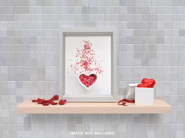Concetto di san valentino mockup cornice con regalo rosa e cuore