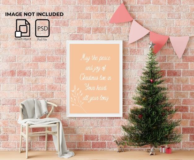 Mockup di cornice con decorazioni natalizie e regali