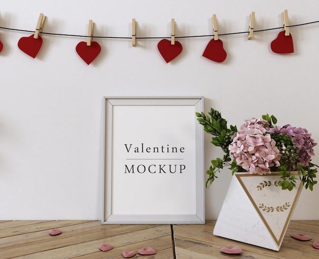 Mockup di cornice con composizione di oggetti di san valentino