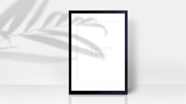 Frame mockup con palm leaf shadow