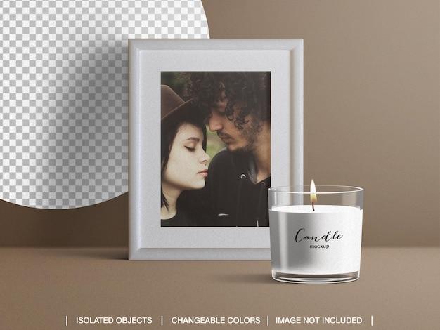Cornice fotografica con cornice e mockup di candela con profumo di profumo spa e creatore di scene isolato