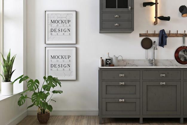 Mockup di foto cornice in cucina minimalista grigia
