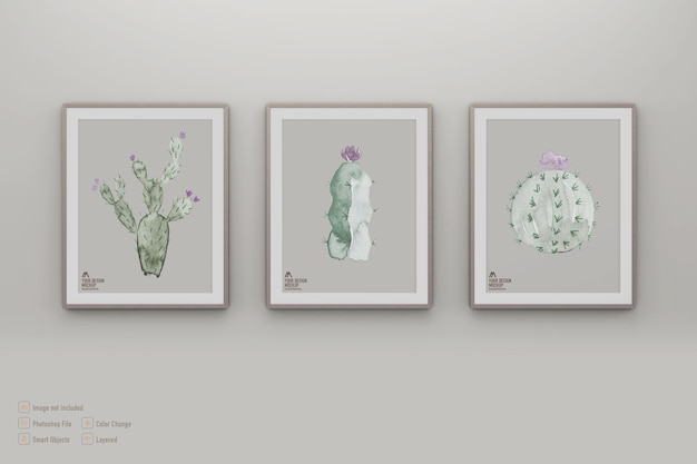 Mockup di immagini cornice isolato sul muro