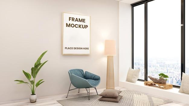 Mockup di logo poster cornice in soggiorno