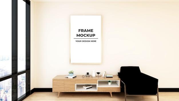 Mockup di poster cornice in elegante soggiorno 3d interior design