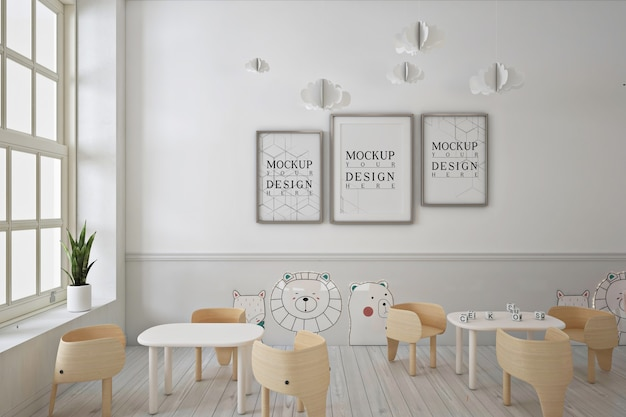 Mockup di poster con cornice nella moderna scuola materna contemporanea