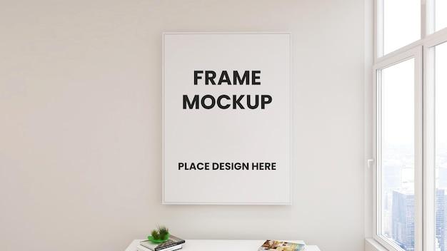 Mockup di poster con cornice a parete con interni dal design minimalista