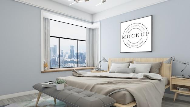 Mockup di poster cornice con interni della camera