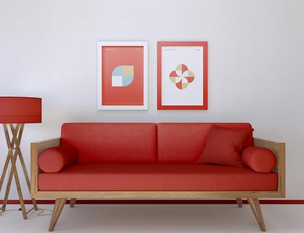 Cornice e divano mockup in soggiorno