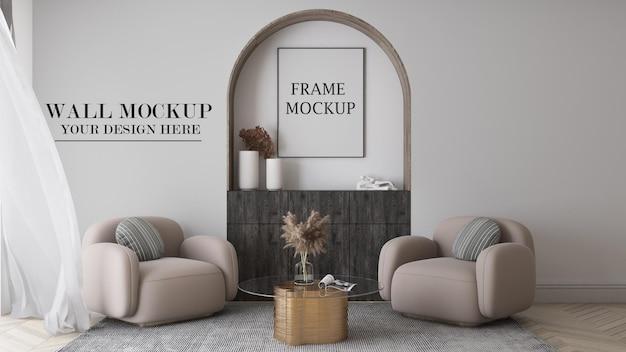 Mockup di telaio e parete in interni di rendering 3d