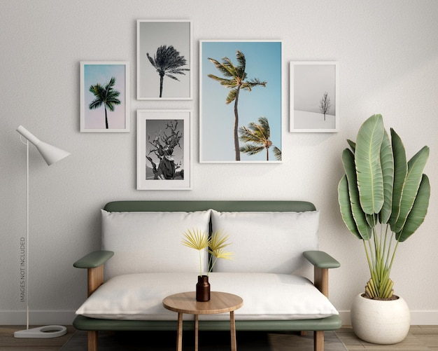 Cornici mockup design con pianta in rendering 3d