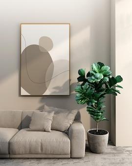Cornici e design di mockup di piante in rendering 3d