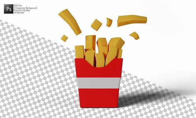 Patatine fritte illustrazione 3d design