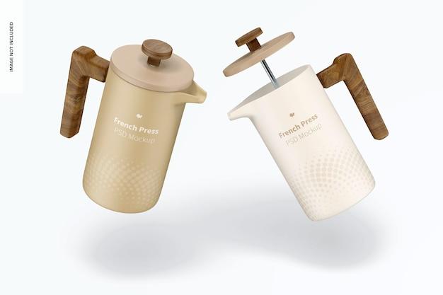French press mockup di caffettiera, galleggiante