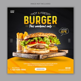 Hamburger fresco social media post banner pubblicitario modello