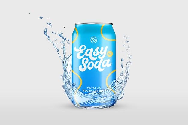 Bevanda fresca con mockup di spruzzi d'acqua