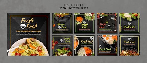 Modello di post sui social media di cibo fresco