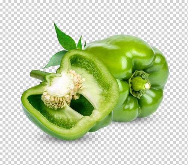 Peperone dolce verde fresco con foglie isolate psd premium