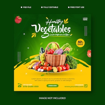 Modello di promozione post sui social media per la consegna di verdure fresche di generi alimentari psd premium