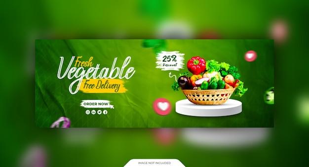 Modello di copertina per social media di verdure fresche e salutari